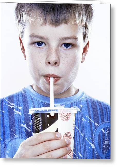 Consume Greeting Cards - Boy Drinking A Fizzy Drink Greeting Card by Kevin Curtis