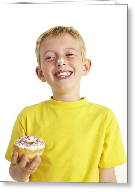 Consume Greeting Cards - Boy Eating A Doughnut Greeting Card by Ian Boddy
