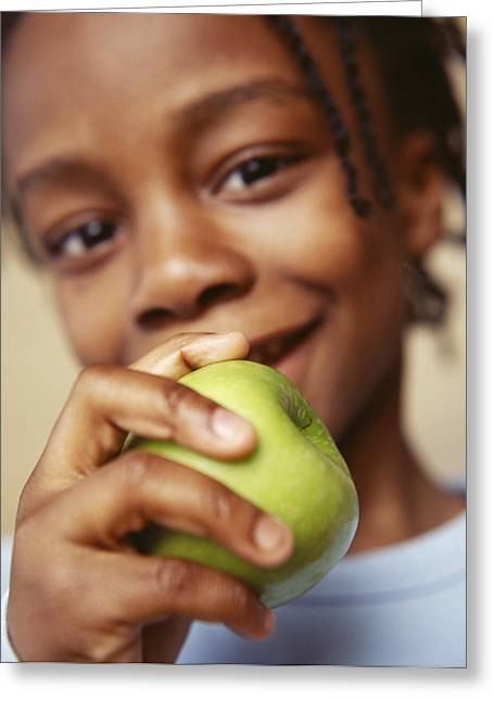 Consume Greeting Cards - Boy Eating Apple Greeting Card by Ian Boddy