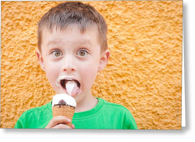 Children Ice Cream Greeting Cards - Boy having ice cream Greeting Card by Tom Gowanlock