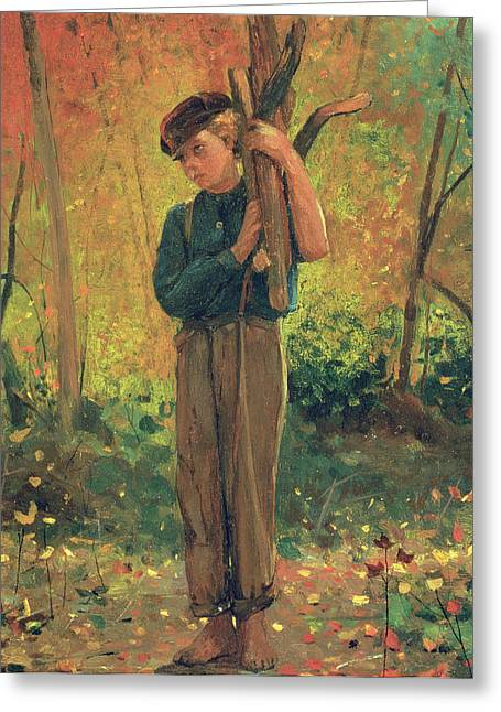 Toiling Greeting Cards - Boy Holding Logs Greeting Card by Winslow Homer