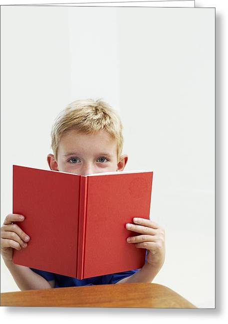 Child Care Greeting Cards - Boy Holding School Book Greeting Card by Ian Boddy