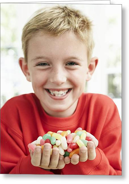 Consume Greeting Cards - Boy Holding Sweets Greeting Card by Ian Boddy