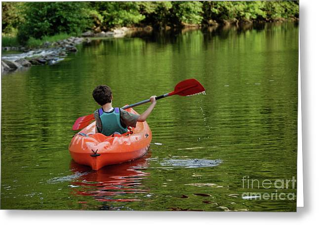 Children Only Greeting Cards - Boy kayaking in river Greeting Card by Sami Sarkis