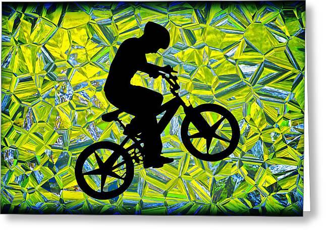 Susan Leggett Digital Greeting Cards - Boy on a Bike Silhouette Greeting Card by Susan Leggett