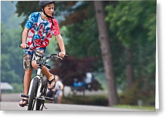 Susan Leggett Greeting Cards - Boy on a Bike Greeting Card by Susan Leggett