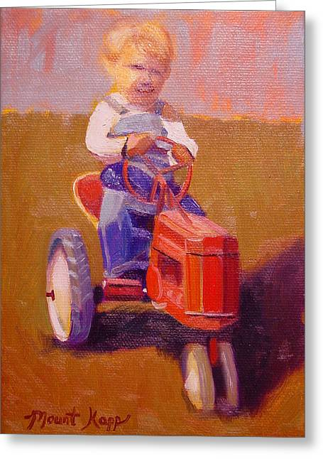 Vintage Painter Greeting Cards - Boy on Tractor Greeting Card by The Vintage Painter