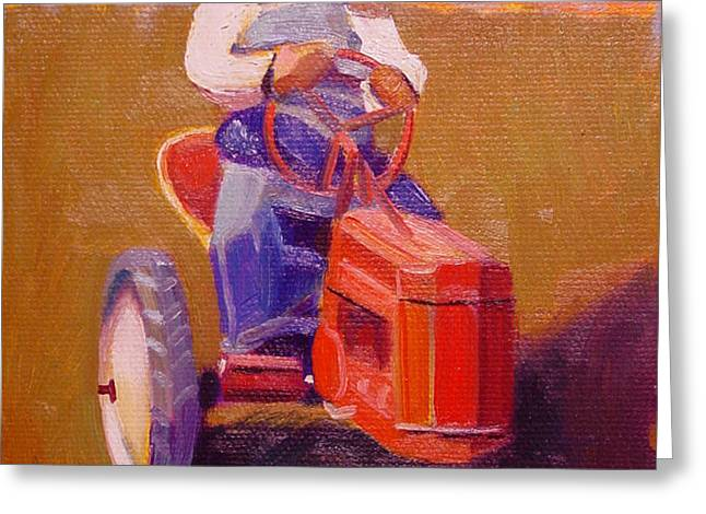 Boy on Tractor Greeting Card by The Vintage Painter