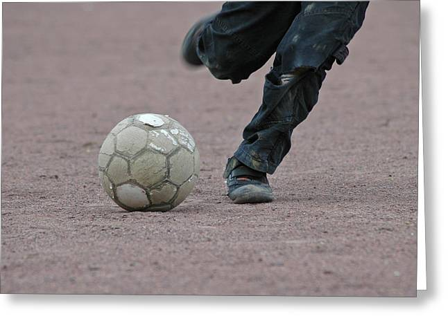 Fussball Greeting Cards - Boy playing soccer with a ball Greeting Card by Matthias Hauser