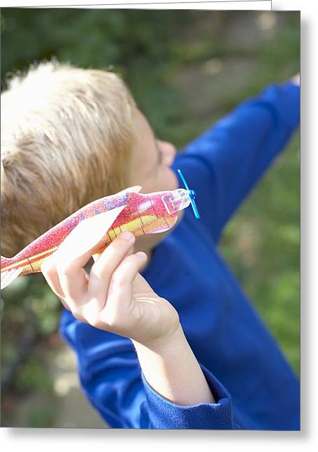 Model Aircraft Greeting Cards - Boy Playing With A Toy Aeroplane Greeting Card by Ian Boddy