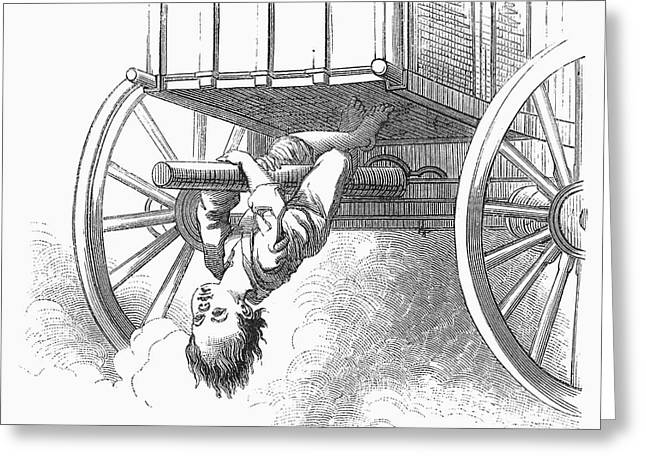 Strother Greeting Cards - Boy Riding Under Wagon Greeting Card by Granger