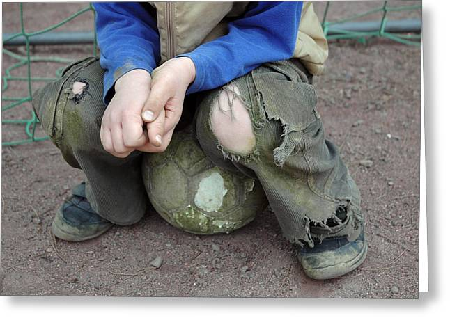 Pause Greeting Cards - Boy sitting on ball - torn trousers Greeting Card by Matthias Hauser