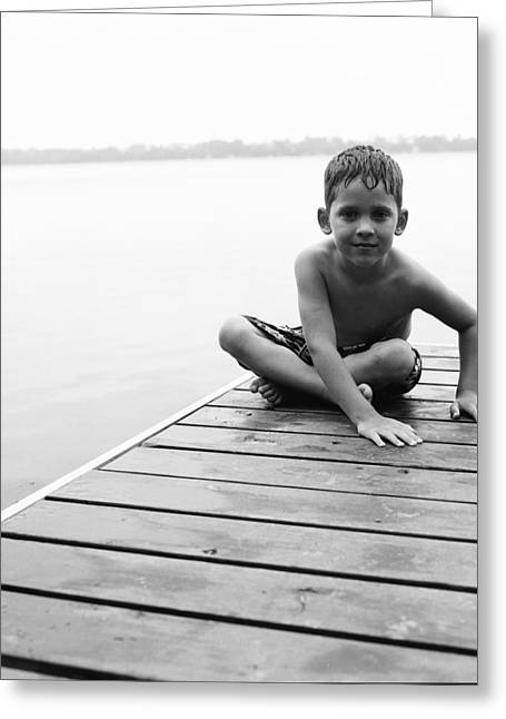 Entire Greeting Cards - Boy Sitting On Dock Greeting Card by Michelle Quance
