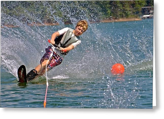 Susan Leggett Greeting Cards - Boy Slalom Skiing Greeting Card by Susan Leggett