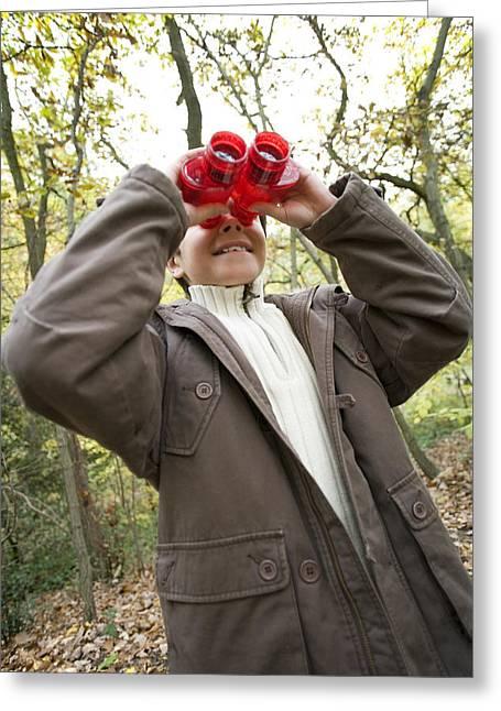 Birdwatcher Greeting Cards - Boy Using Binoculars Greeting Card by Ian Boddy