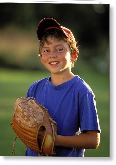 Baseball Shirt Greeting Cards - Boy With Baseball Glove Greeting Card by John Sylvester