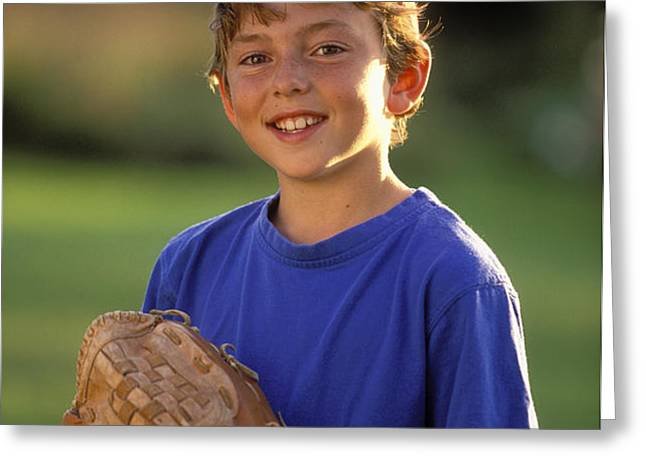 Boy With Baseball Glove Greeting Card by John Sylvester