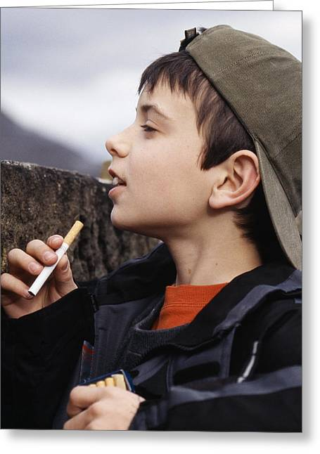 Underage Greeting Cards - Boy With Cigarettes Greeting Card by Andy Harmer