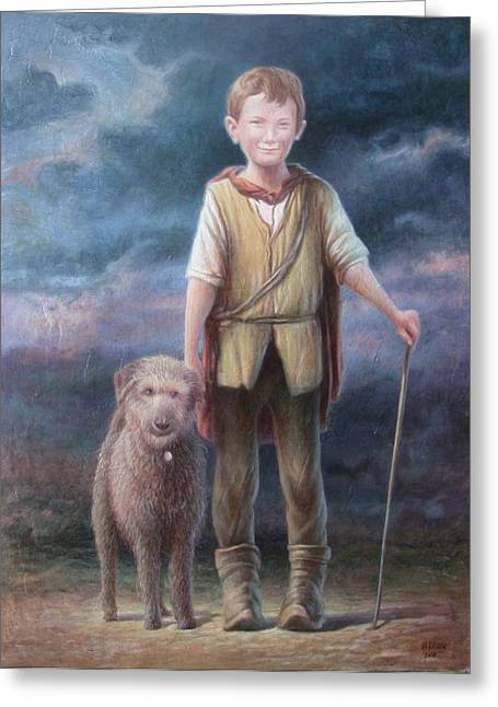 Dog With Stick Greeting Cards - Boy with Dog Greeting Card by Hans Droog