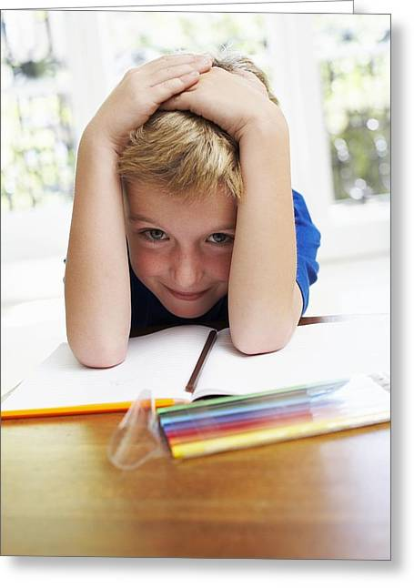 Blank Pages Greeting Cards - Boy With Pens And Exercise Book Greeting Card by Ian Boddy
