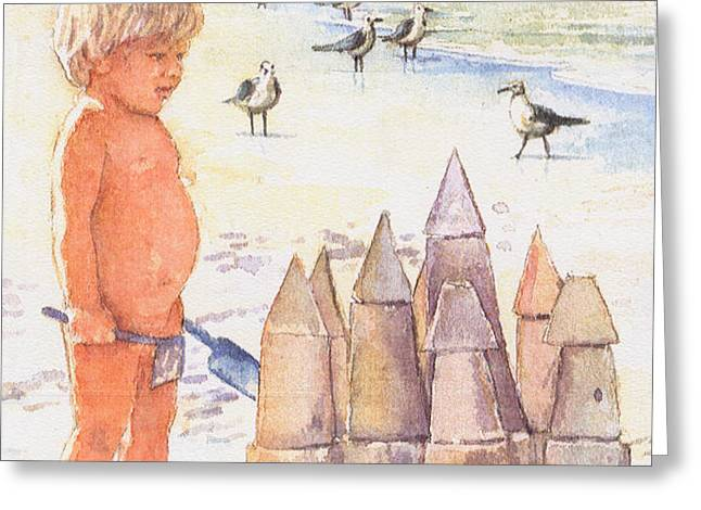 Boy with Sandcastle Greeting Card by Shawn McLoughlin