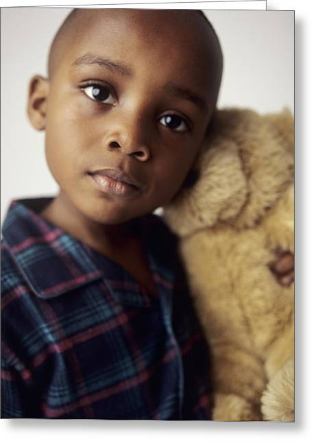 Black Teddy Greeting Cards - Boy With Teddy Bear Greeting Card by Ian Boddy