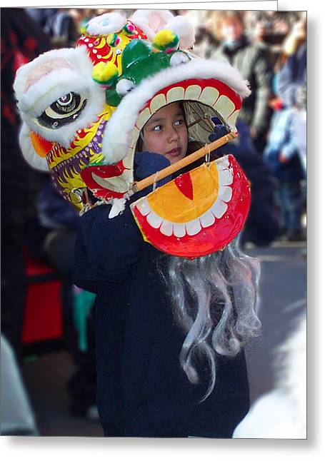 Beast Dancer Greeting Cards - Boy with the Dragon Mask Greeting Card by Jeff Stein