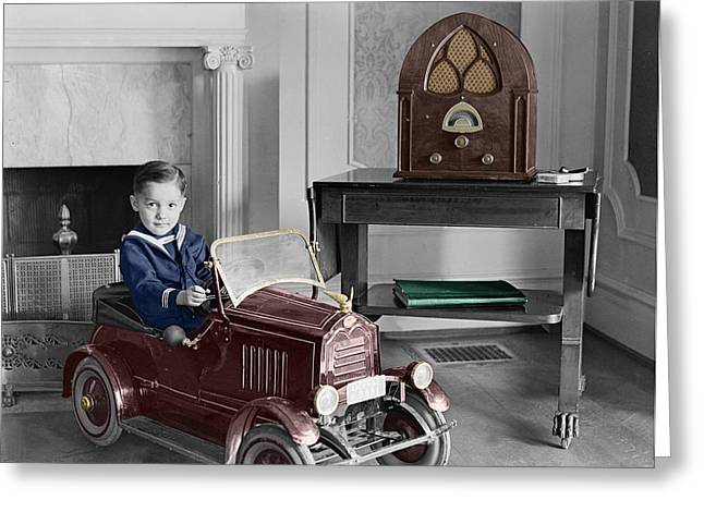 Boy With Toy Car Greeting Card by Andrew Fare