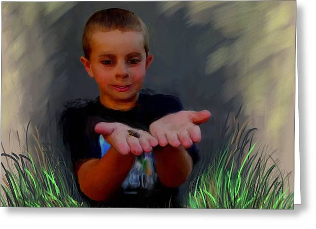 Nature Scene With Frog Greeting Cards - Boys and Their Pet Frogs Greeting Card by Cindy Wright