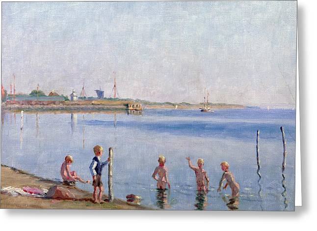 Docked Sailboat Greeting Cards - Boys at Waters Edge Greeting Card by Johan Rohde