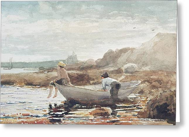 Sailing Boat Greeting Cards - Boys on the Beach Greeting Card by Winslow Homer