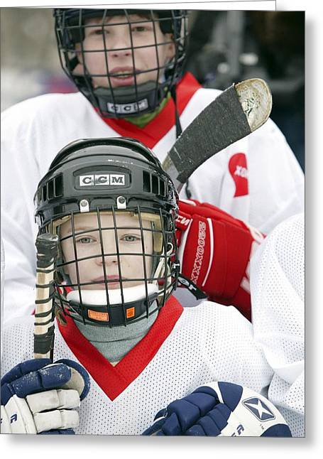 Sponsor Greeting Cards - Boys Playing Ice Hockey Greeting Card by Ria Novosti