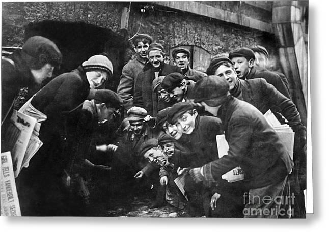 Craps Greeting Cards - BOYS SHOOTING CRAPS, c1910 Greeting Card by Granger