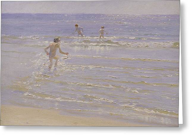 Sea Shore Greeting Cards - Boys Swimming Greeting Card by Peder Severin Kroyer