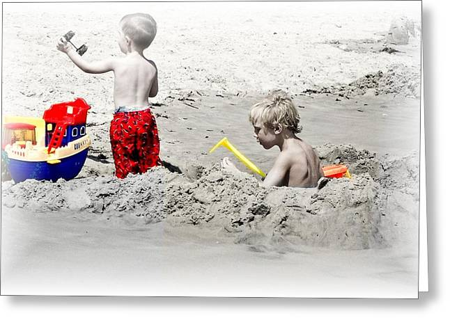 Boys Will Be Boys At The Beach Nj Greeting Card by Gwenn Dunlap