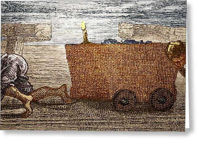 Manual Greeting Cards - Boys Working In A Coal Mine Greeting Card by Sheila Terry