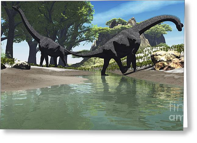 Saurischia Greeting Cards - Brachiosaurus Dinosaurs Look For Food Greeting Card by Corey Ford
