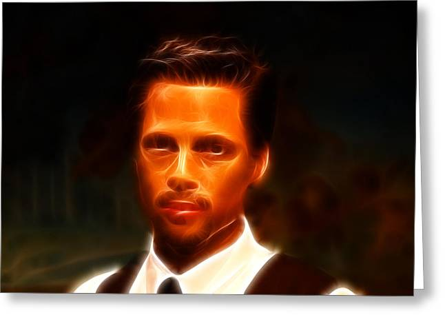 Basterds Greeting Cards - Brad Pitt II  Greeting Card by Lee Dos Santos