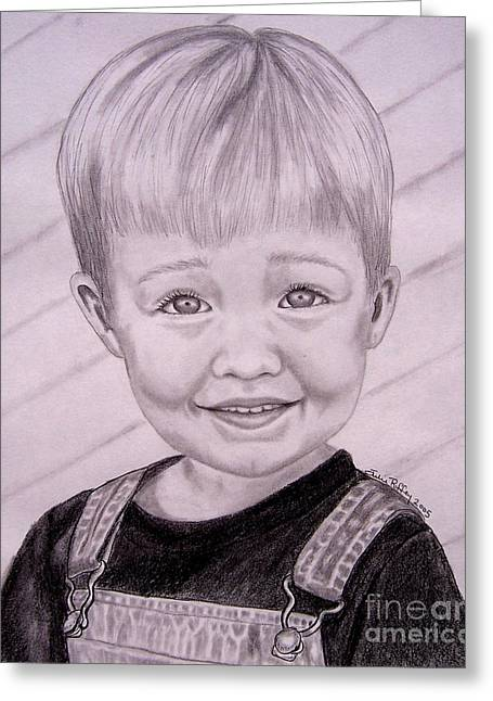 Overalls Drawings Greeting Cards - Brady Greeting Card by Julie Brugh Riffey