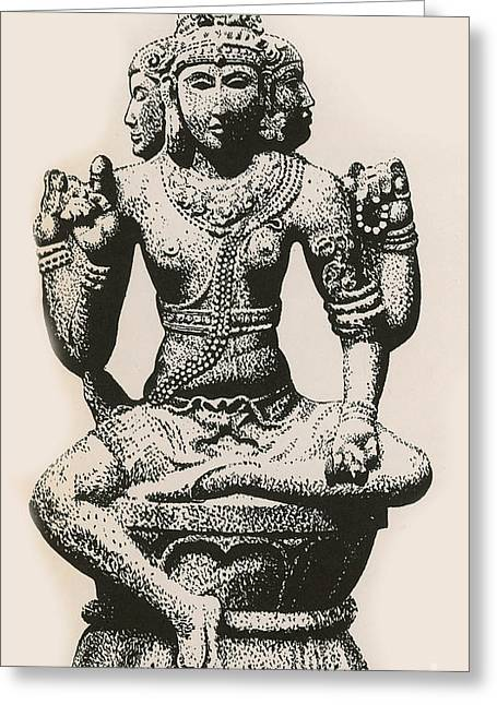 Sacred Religious Art Greeting Cards - Brahma, Hindu God Greeting Card by Photo Researchers