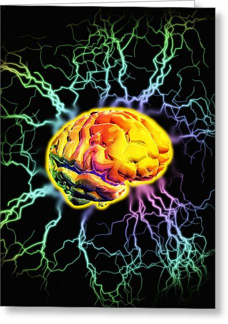 Pulsing Greeting Cards - Brain Activity Greeting Card by Victor Habbick Visions