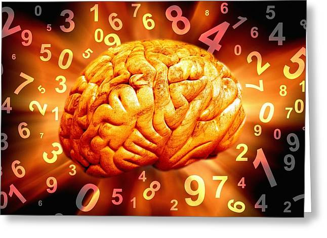 Numerical Greeting Cards - Brain, Conceptual Artwork Greeting Card by Victor De Schwanberg