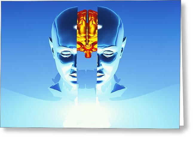 Multiple Personalities Greeting Cards - Brain Greeting Card by Laguna Design