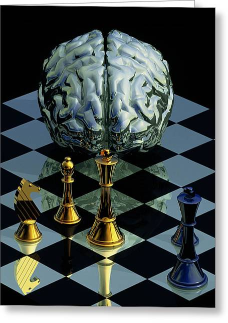 Chessmen Greeting Cards - Brainpower Greeting Card by Laguna Design