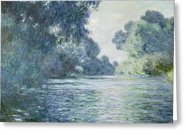 Blues Greeting Cards - Branch of the Seine near Giverny Greeting Card by Claude Monet