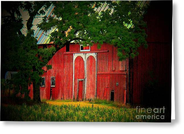 Branch Over Barn Door Greeting Card by Joyce Kimble Smith