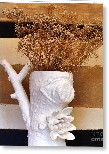 """""""beige Abstract"""" Greeting Cards - Branch Vase Greeting Card by Marsha Heiken"""