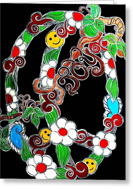Swirls And Stripes Greeting Cards - Branching Peace and Joy Greeting Card by Amy Carruth-Drum