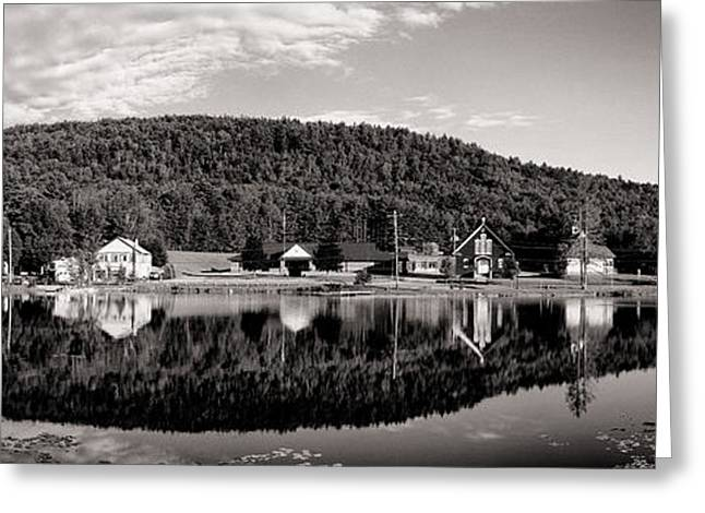 Adirondack Park Greeting Cards - Brant Lake Reflections Black and White Greeting Card by Joshua House