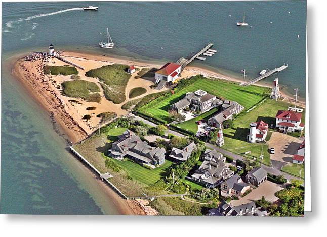 Pearson Aerial Greeting Cards - Brant Point Light House Nantucket Island 2 Greeting Card by Duncan Pearson